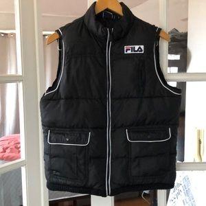 Fila Women's Black 5 Pocket Puffer Vest. Retro L